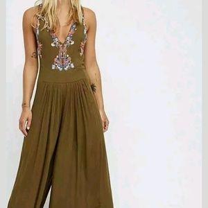 Free People Almafi Embroidered Jumpsuit Olive 8